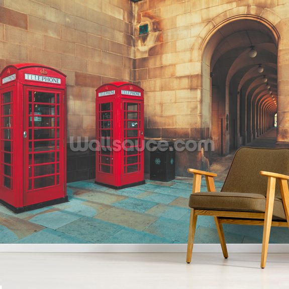 Manchester Phone Boxes wall mural room setting