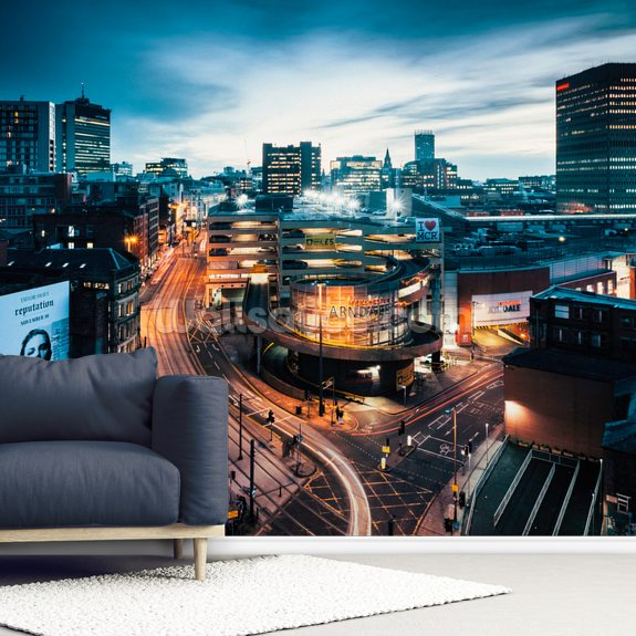 Manchester Skyline Night mural wallpaper room setting