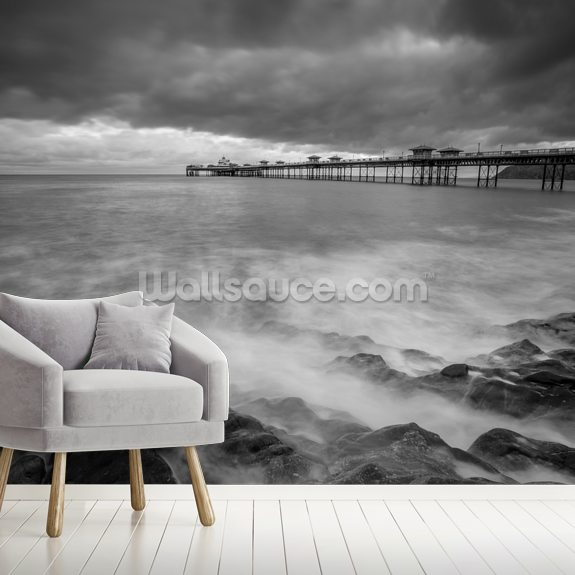Llandudno Pier Mono wallpaper mural room setting