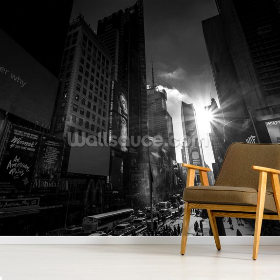 New York Time Square wall mural room setting