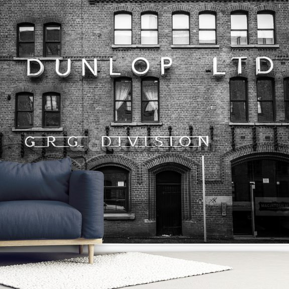 Dunlop Rubber Works mural wallpaper room setting