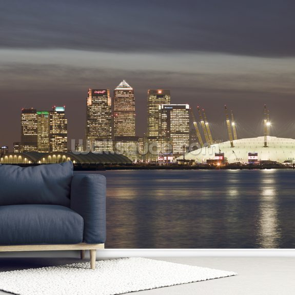 Canary Wharf and the Millennium Dome mural wallpaper room setting