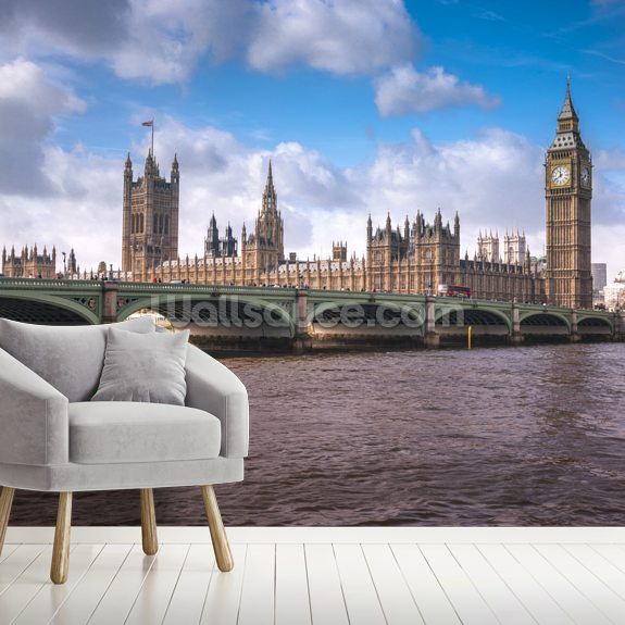 Westminster Bridge London wallpaper mural room setting