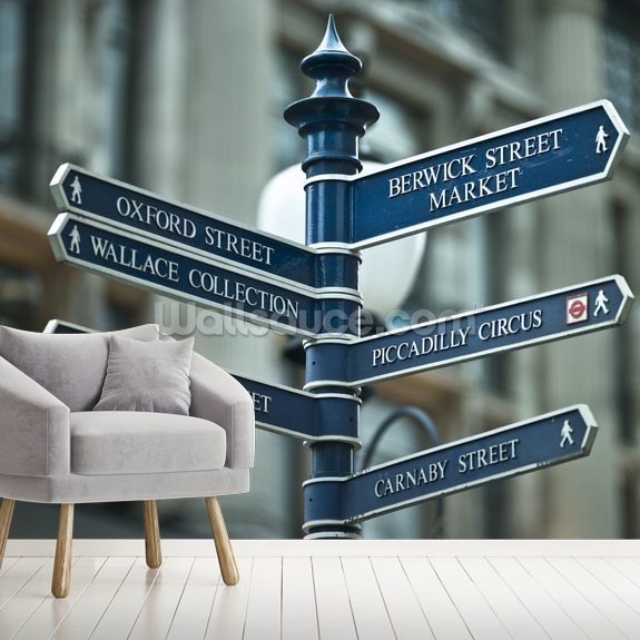 Oxford Circus Sign Post mural wallpaper room setting