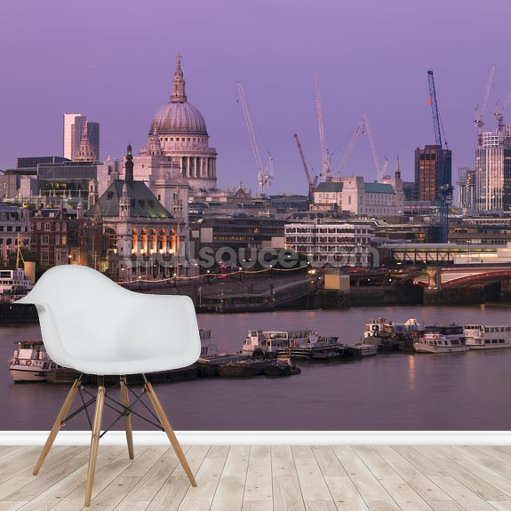 Blackfriars Bridge at Dusk mural wallpaper room setting
