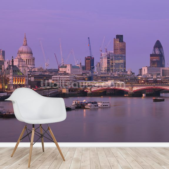 River Thames and Blackfriars Bridge wall mural room setting