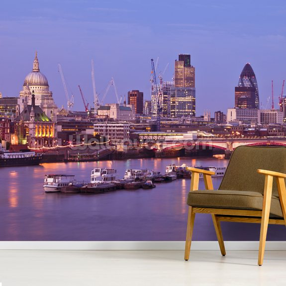 London Skyline and The Blackfriars Bridge wallpaper mural room setting