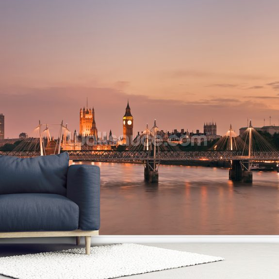 Waterloo Bridge and Houses of Parliament wall mural room setting