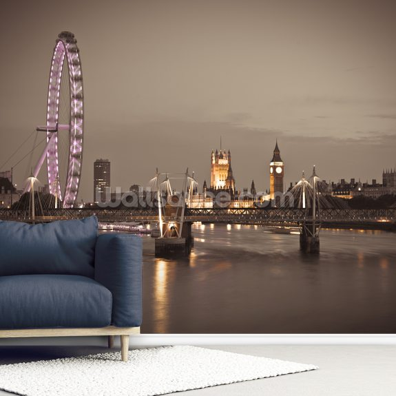 London Eye at Night wallpaper mural room setting