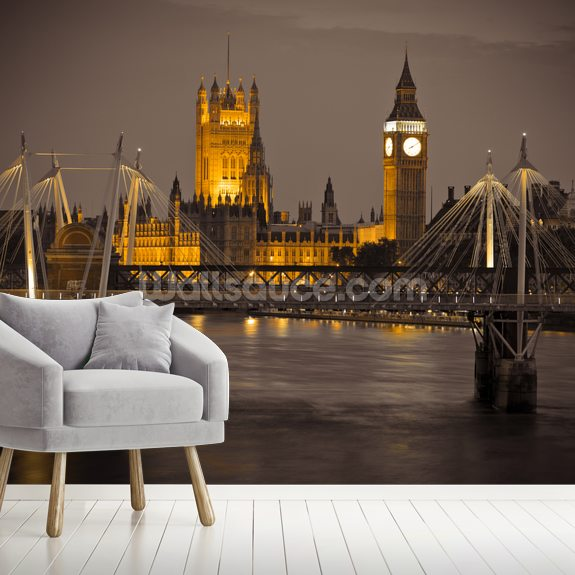 Waterloo Bridge and Houses of Parliament at Night mural wallpaper room setting
