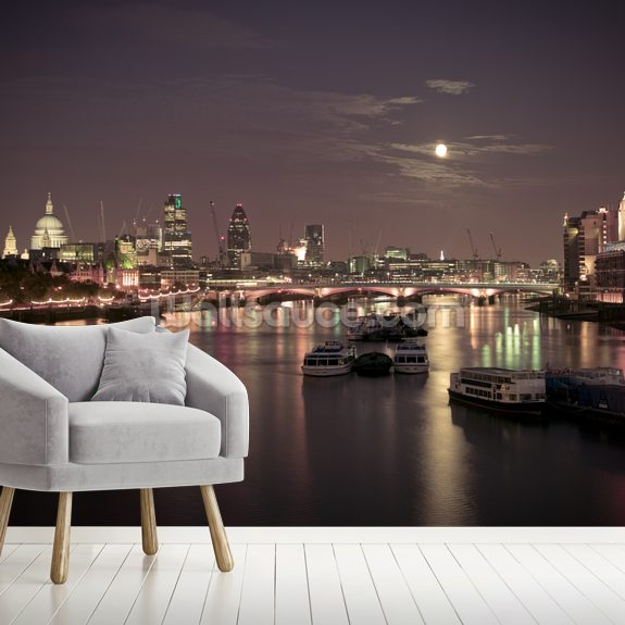 Blackfriars Bridge at Night wallpaper mural room setting