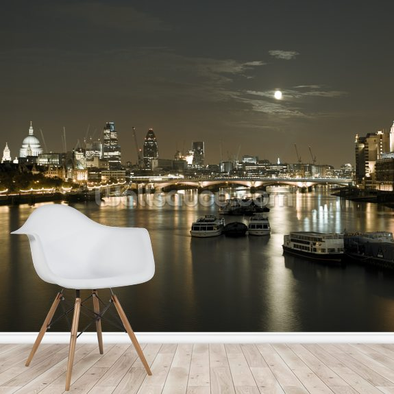 River Thames at Night mural wallpaper room setting