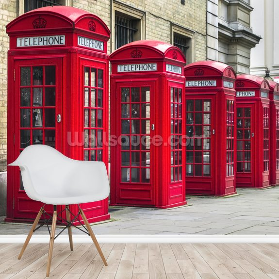 London Telephone Boxes wall mural room setting