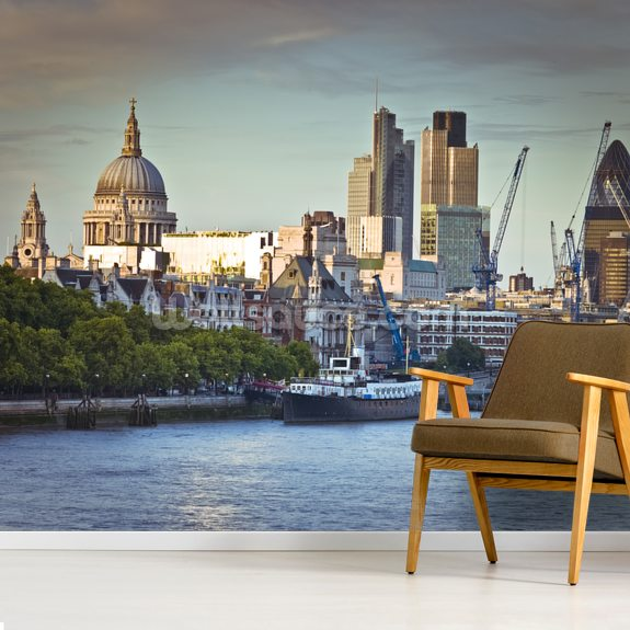 London Skyline Over the River Thames wall mural room setting
