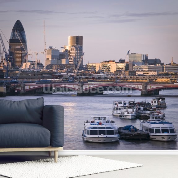 River Thames Skyline wallpaper mural room setting