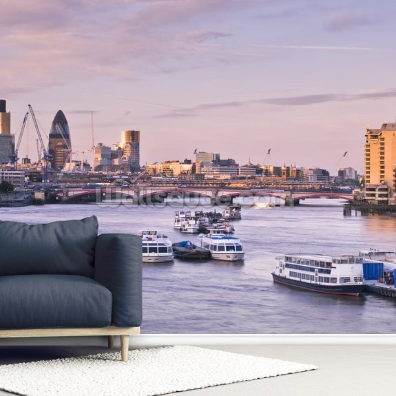 London Skyline mural wallpaper room setting