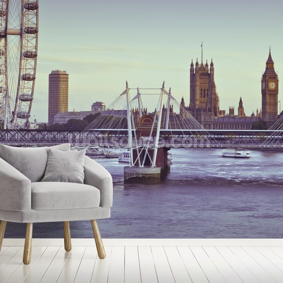 London Eye over The River Thames wall mural room setting