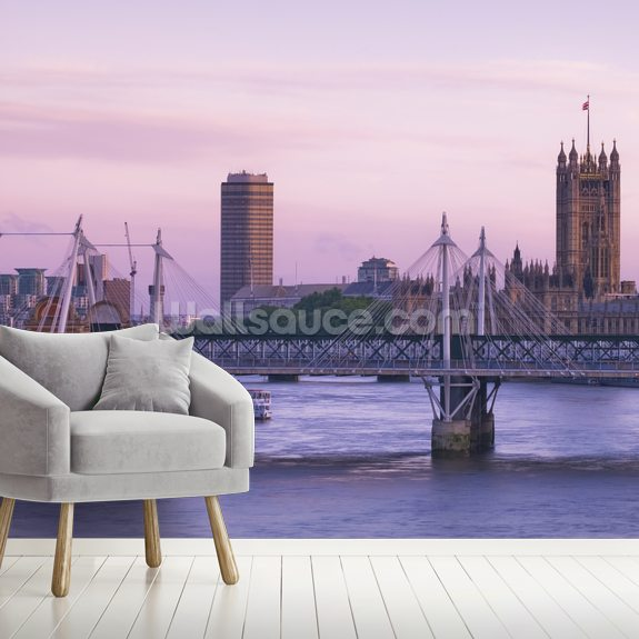 Houses of Parliament over the River Thames wallpaper mural room setting
