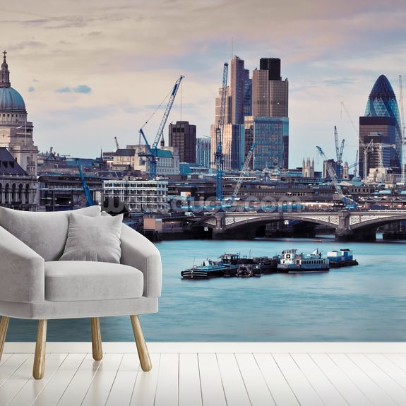 London Skyline Dusk mural wallpaper room setting