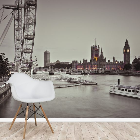 Houses of Parliament and The London Eye wall mural room setting