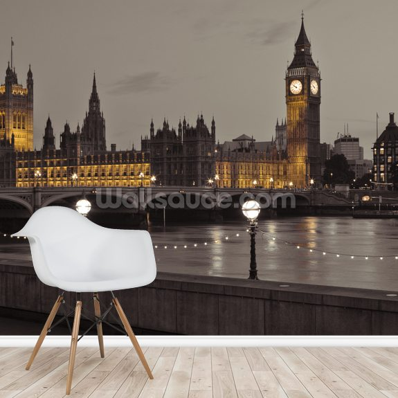 The Houses of Parliament wallpaper mural room setting
