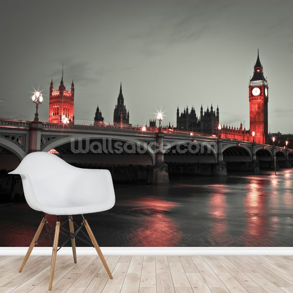Westminster Bridge with Red Lights mural wallpaper room setting