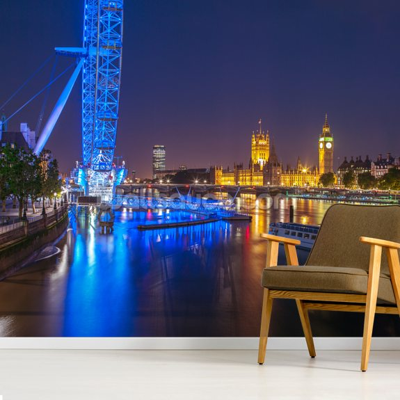 Night Lights at the London Eye wallpaper mural room setting