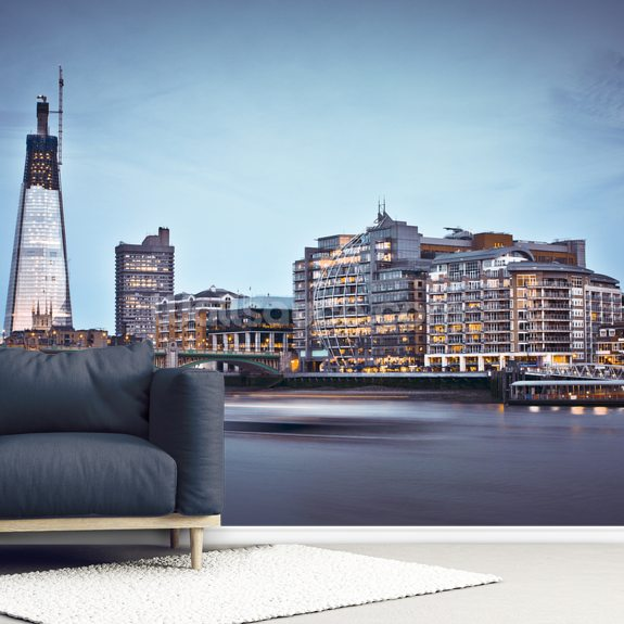 The Shard and the River Thames mural wallpaper room setting