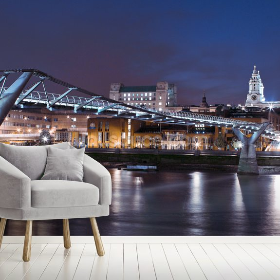 Millenium Bridge at Night wallpaper mural room setting