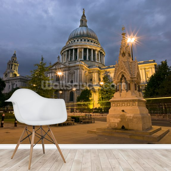 St Paul's Cathedral Night Lights wallpaper mural room setting