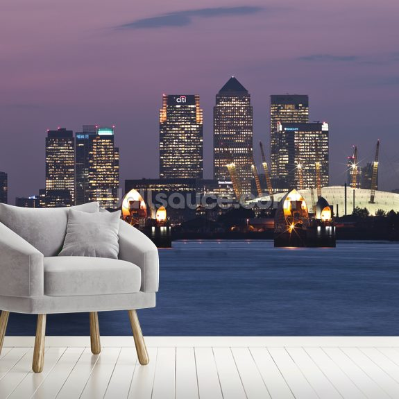 Canary Wharf Skyline mural wallpaper room setting