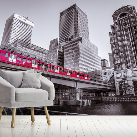 Train at Canary Wharf wallpaper mural room setting