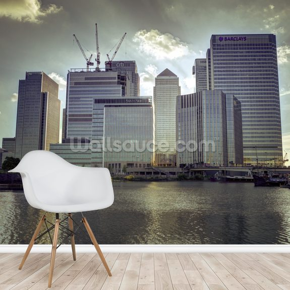 Canary Wharf mural wallpaper room setting