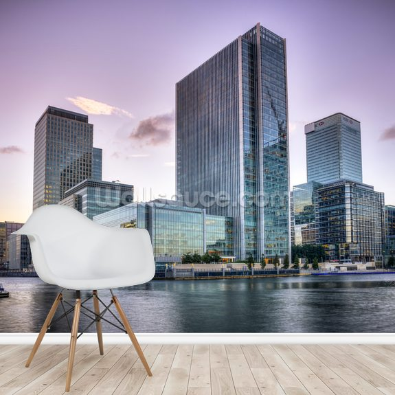 Canary Wharf at Dusk wall mural room setting