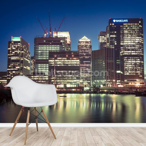 Canary Wharf Night Lights wallpaper mural room setting