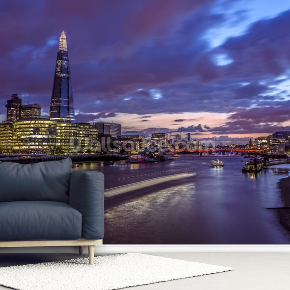 The Shard at Night wallpaper mural room setting