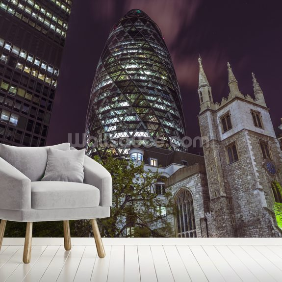 The Gherkin at Night wall mural room setting
