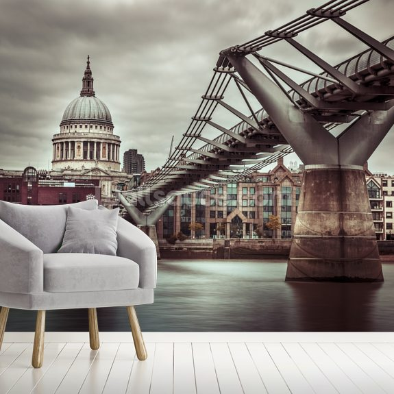 View of St Paul's Cathedral and Millennium Bridge mural wallpaper room setting