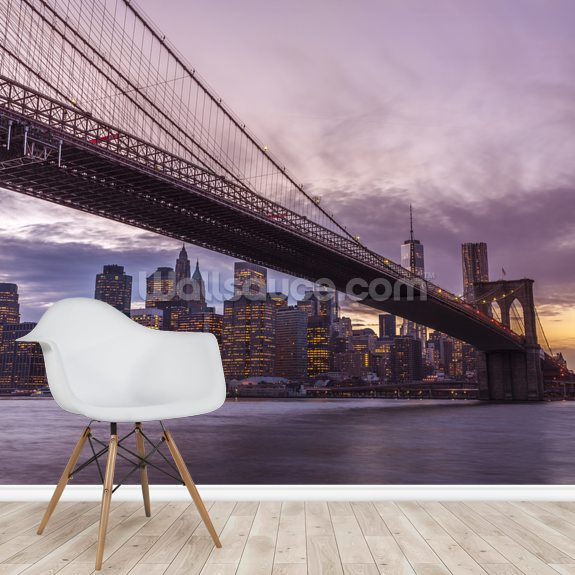 Brooklyn Bridge Skyline at Dusk mural wallpaper room setting