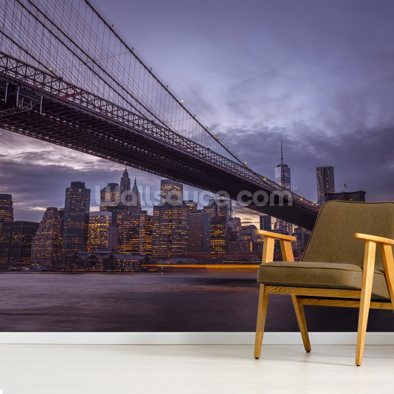 Brooklyn Bridge City Lights wall mural room setting