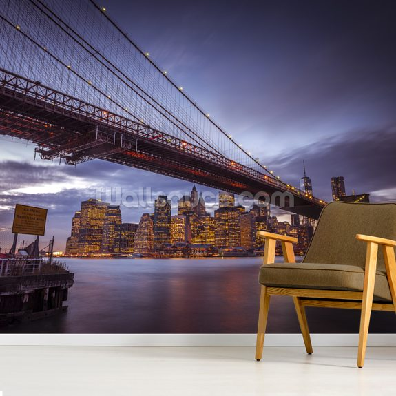 Brooklyn Bridge and Lower Manhatten wallpaper mural room setting