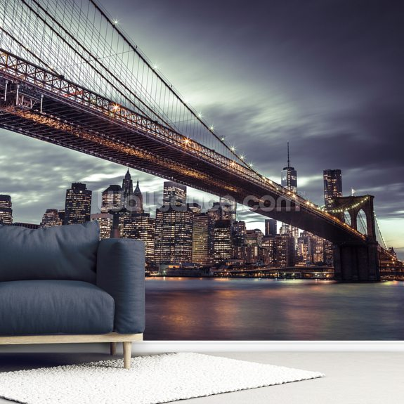 Brooklyn Bridge Manhattan at Night wall mural room setting