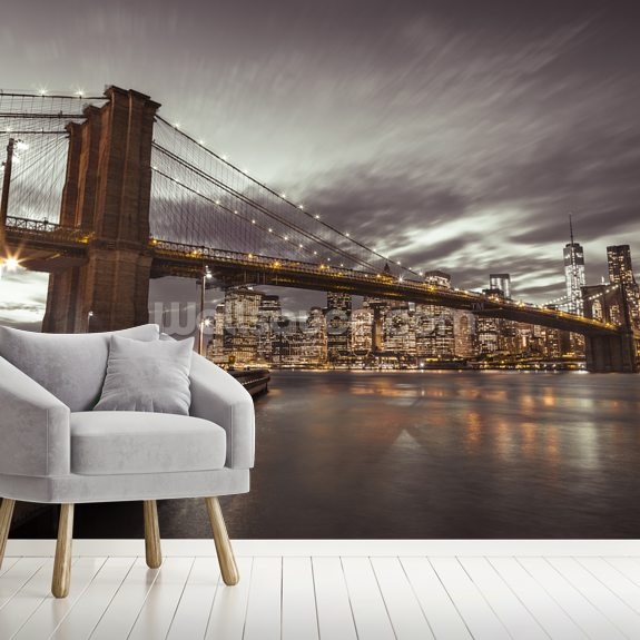 Brooklyn Bridge Skyline Cityscape wallpaper mural room setting