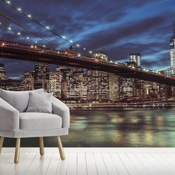 Manhattan Lights mural wallpaper room setting