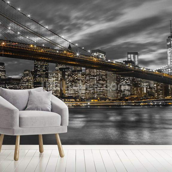 Brooklyn Bridge Yellow Splash wall mural room setting