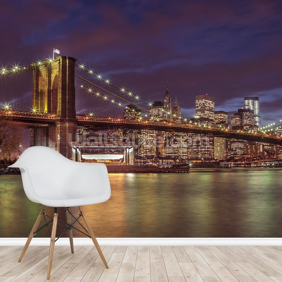 Brooklyn Bridge Colourful Panoramic wallpaper mural room setting