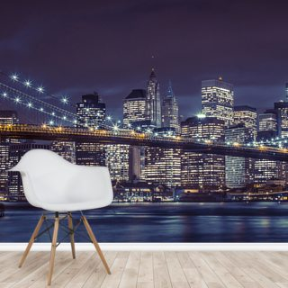 Brooklyn Bridge Moody Blue Wallpaper Wall Murals