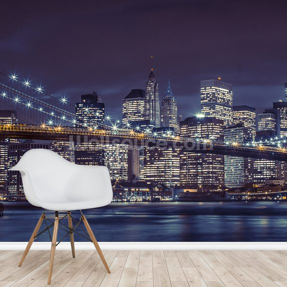 Brooklyn Bridge Moody Blue wall mural room setting