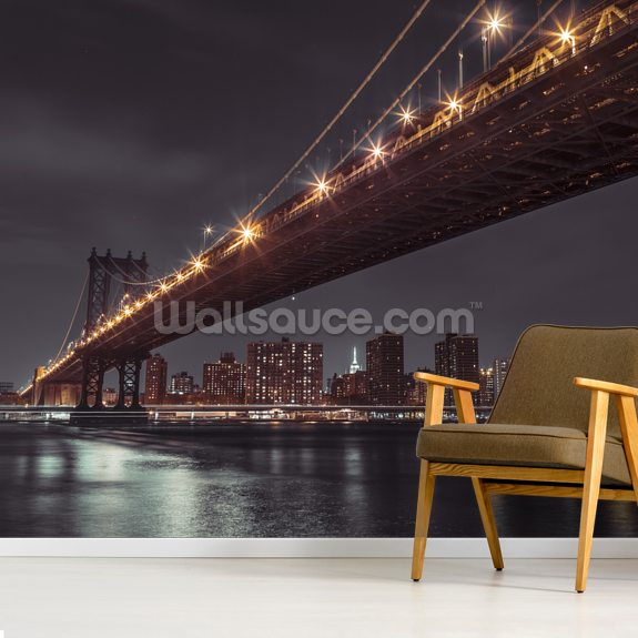 Brooklyn Bridge Sky at Night wallpaper mural room setting