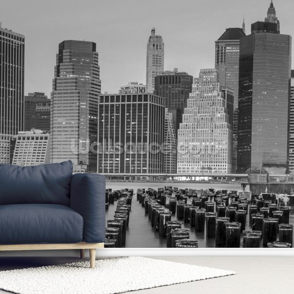 Lower Manhattan Monochrome wall mural room setting